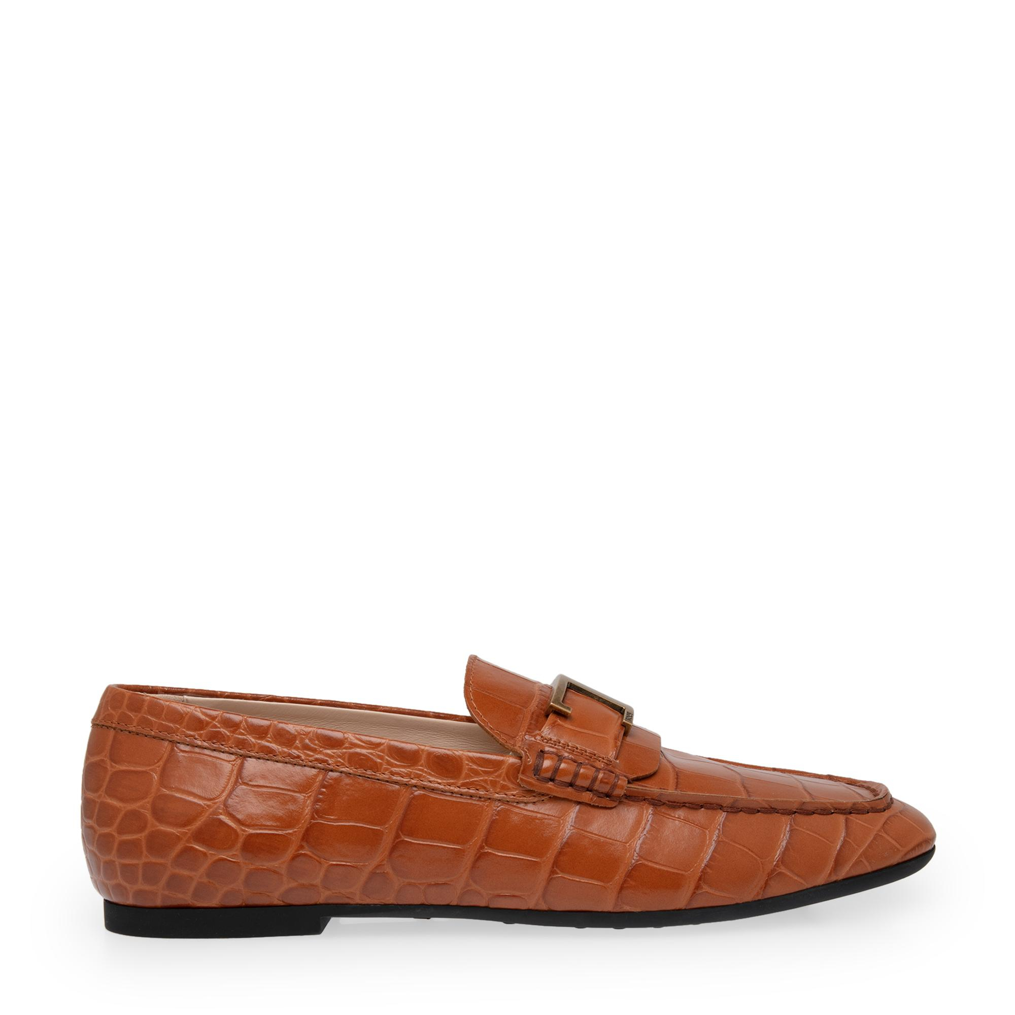 Leather T-bar loafers